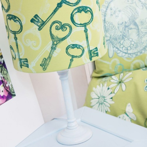'Hand printed, hand constructed lampshade