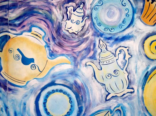 A magical tea-set mural for the staffroom!