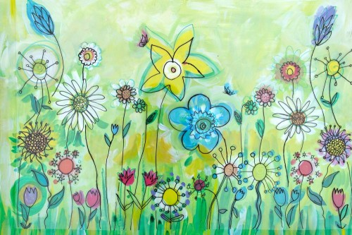 'Wild Garden Flower Mural Design 1'
