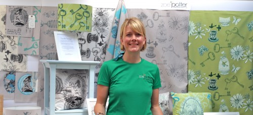 'with my exhibition of my silk screen printed fabrics'