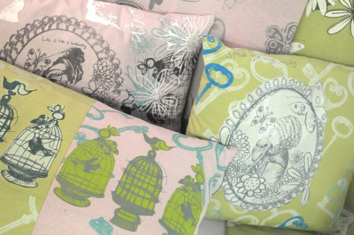 'perfectly plump hand printed cushions'