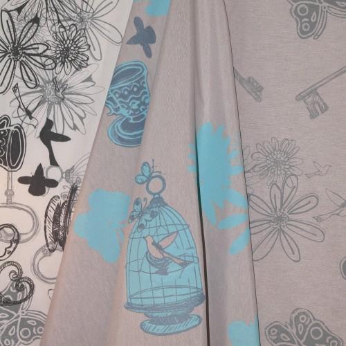 'vintage blue ground, overprinted with gentle grey line'