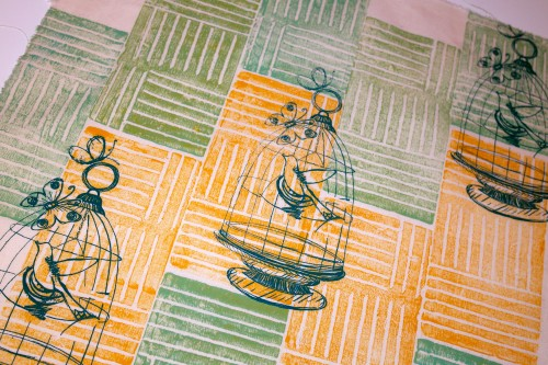'block printed cotton with screen printed birdcages!