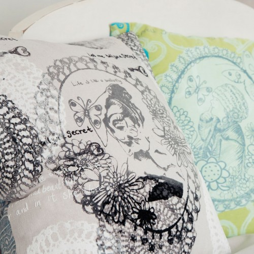 'My girls in Cameo!' hand printed, hand made cushions