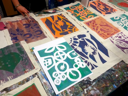 'Vibrant, organic stencil prints'